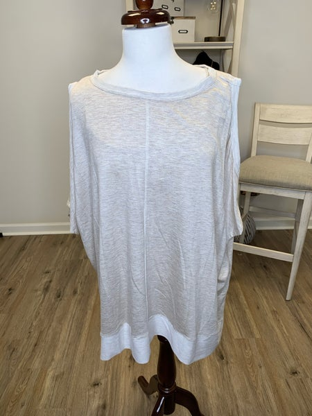 Plus Oatmeal Cold Shoulder Long Sleeve Top With High Low Hem