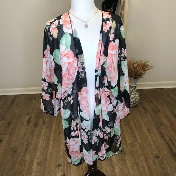 Plus Sheer Black and Peach Floral Print Kimono