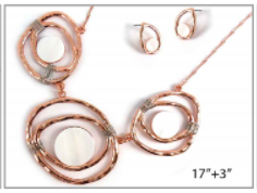Rose Gold Necklace with 3 Metal and Shell Organic Shaped Pendant with matching Earrings
