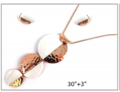 Long Rose Gold Necklace with  3 Tiered Shell and Metal Circular Pendant with Earrings
