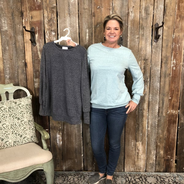 Solid Heather Top with Bubble Sleeves (GA2)