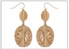 Gold Oval Filigree Drop Earrings MJB