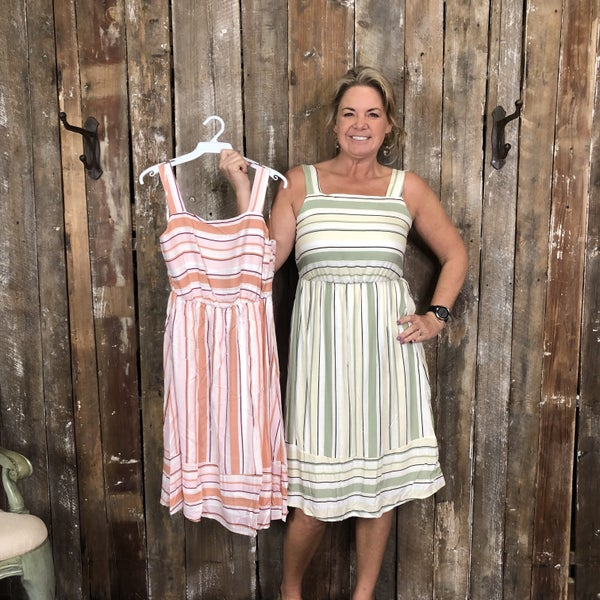 Contrasting Striped Sleeveless Dress with Shirred Back (GA2)