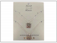Silver Aunt And Niece Necklace