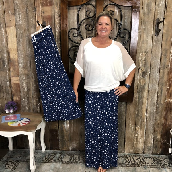 Navy/ White Star Print Maxi Skirt with Banded Waist (GA2)