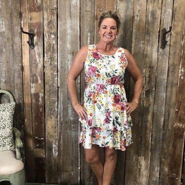 White/Pink/Yellow Floral Print Sleeveless Dress with Elastic Waist(GA2)