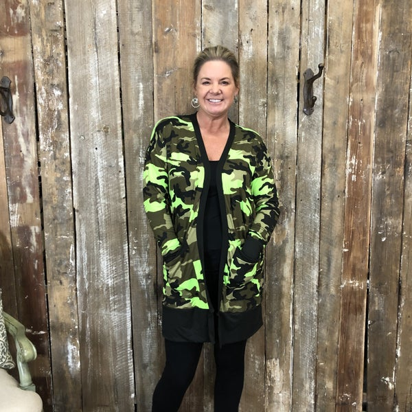 Neon Green Camo Open Front Cardigan with Pockets (GA2)