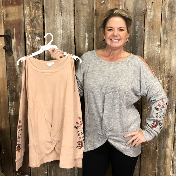 Solid Cold Shoulder Top with Twist Front Hem and Embroidered Floral Detail (GA2)