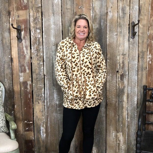Cream/Brown Animal Print Zip Up Jacket with Hood and Pockets (GA2)