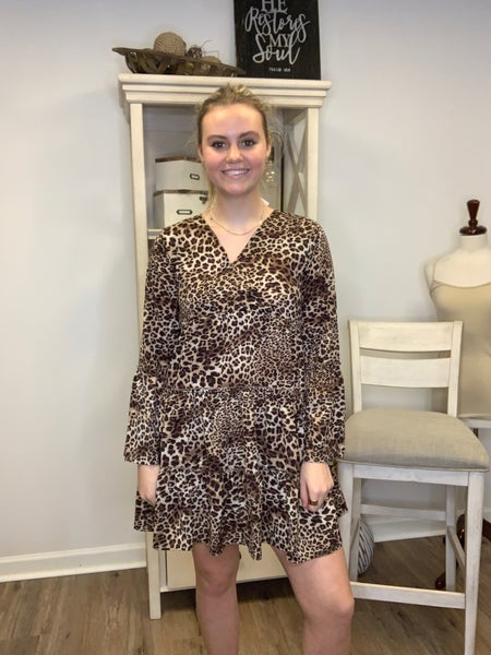 Lightweight Animal Print Tunic/Dress with Bell Sleeve and Triple Ruffle Buttom