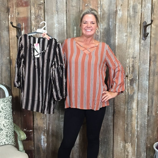 Striped Long Sleeve Top with Criss Cross Neckline(GA2)