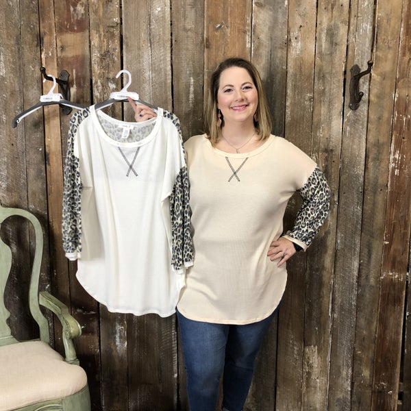 Plus Solid Waffle Knit Top with Contrasting Animal Print Sleeves(GA2)