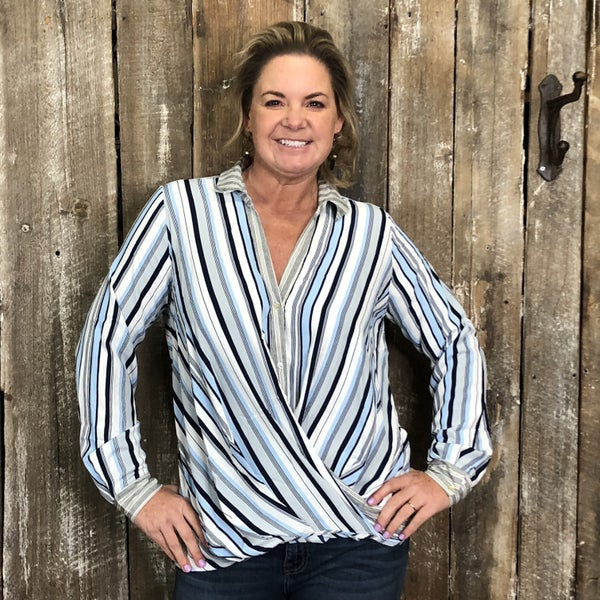 Striped Button Front Top with Surplice High/Low Hem (GA2)