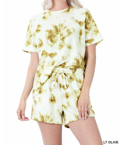 French Terry Tie Dye Raglan Sleeve Shirt/Shorts Set (GA2)