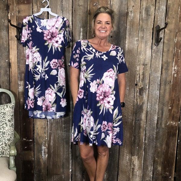 Blue/Mauve Floral Print Tunic/Dress with Pockets(GA2)