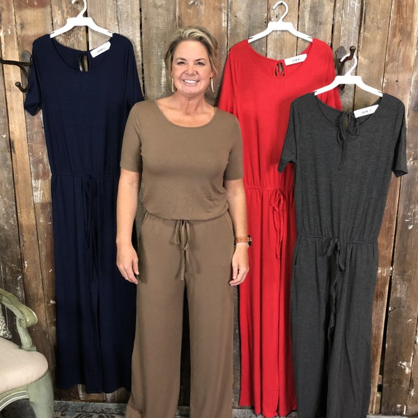 Solid Jumpsuit with Elastic Waist and Back Keyhole (GA2)