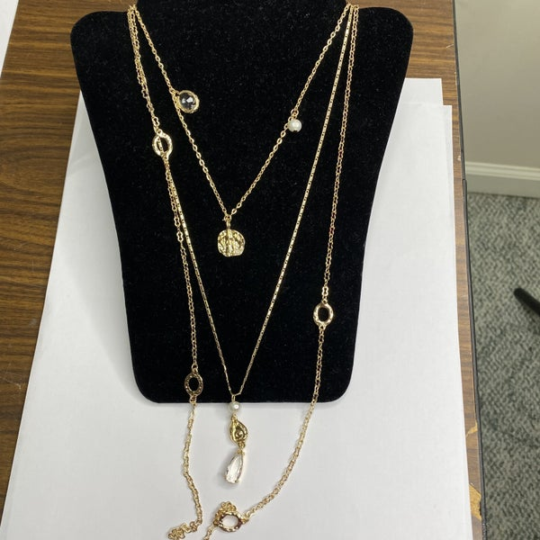 Gold Multi Strand Necklace with Clear Pendant MJB