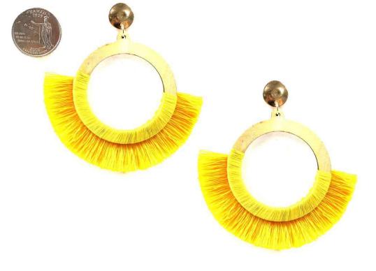 Mustard  Silk Tassel Drop Post Earring