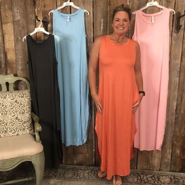 Sleeveless Maxi Dress with Curved Side Slit Hem and Pockets (GA2)