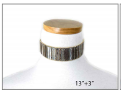 Metallic Multi Colored Fabric Choker