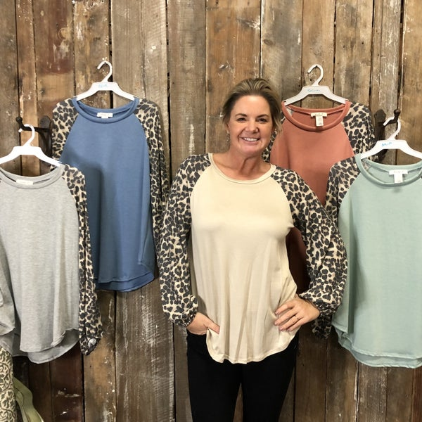 Solid Top with Contrasting Animal Print Long Sleeves (GA2)