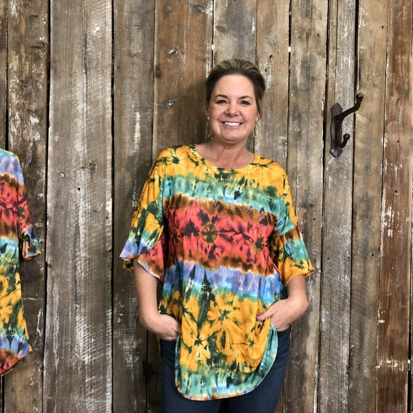 Bright Multi Color Tie Dye Top with Ruffled Sleeves (GA2)