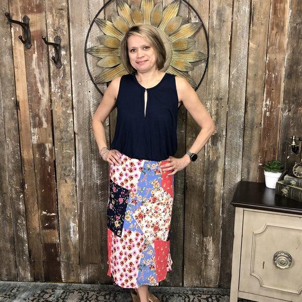 Colorful, Floral, Patchwork Print Pencil Skirt, Fully Lined(GA2)