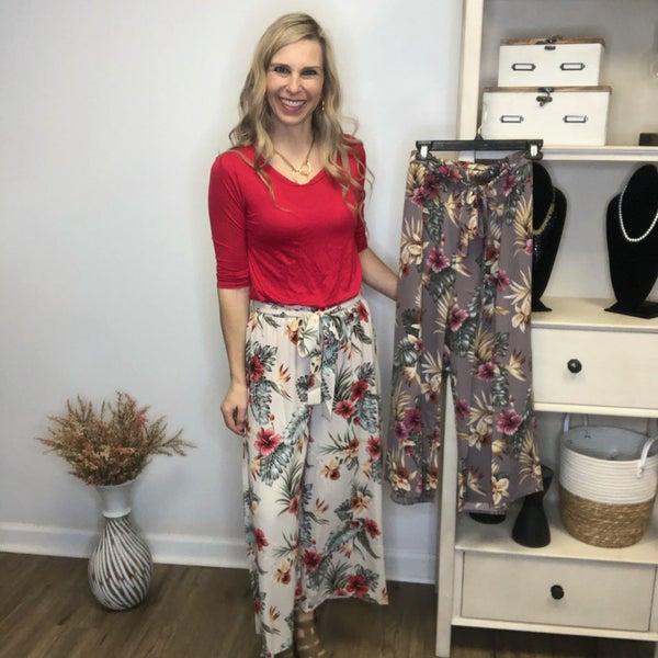 Boutique Item Easel Floral Wide Leg Crop Pants MJB