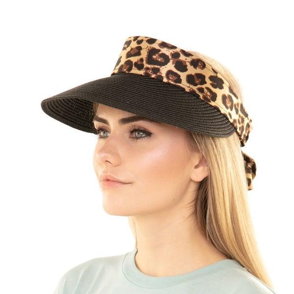 Leopard Bow Straw Visor Cap