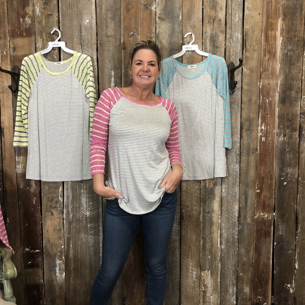 Grey/White Striped Top with Contrasting Striped Long Sleeves(GA2)