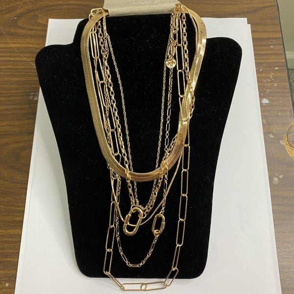 Gold 6 Strand Layered Paper Clip Necklace MJB