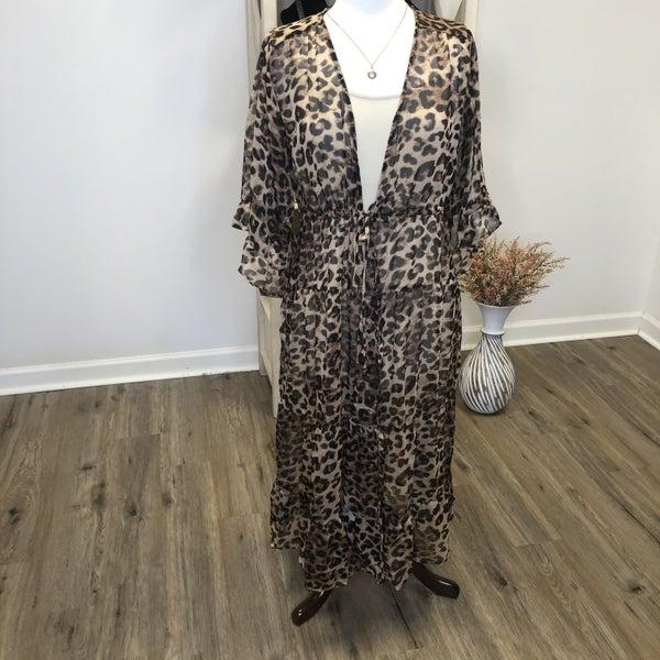 Boutique Item:  Animal Printed Chiffon Maxi Kimono