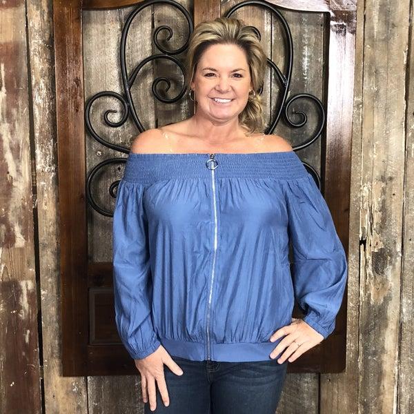 Blue Off Shoulder Top with Zipper Front and Shirred Neckline (GA2)