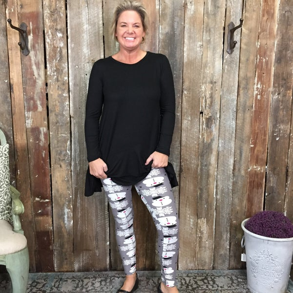 Grey with White Snowman Leggings, in Regular and Plus!