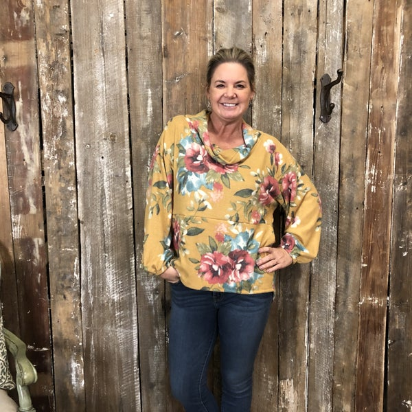 Mustard Floral Print Cowl Neck Top with Bubble Sleeves (GA2)