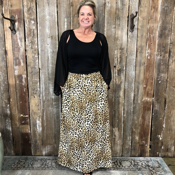 Leopard Print Button Front Maxi Skirt with Side Slit Hem, and Pockets, Lined