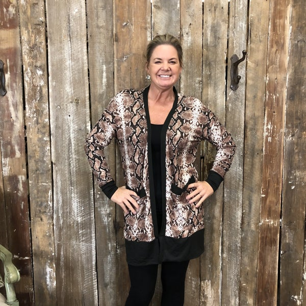 Brown Snake Skin Open Front Cardigan with Pockets (GA2)