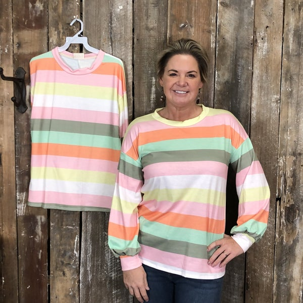Green/Pink/Yellow/Orange Striped Long Sleeve Top with Round Neck (GA2)