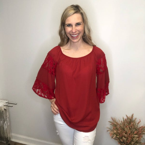 Burgundy Off-The-Shoulder Top/Tunic with Blocky Lace Sleeve