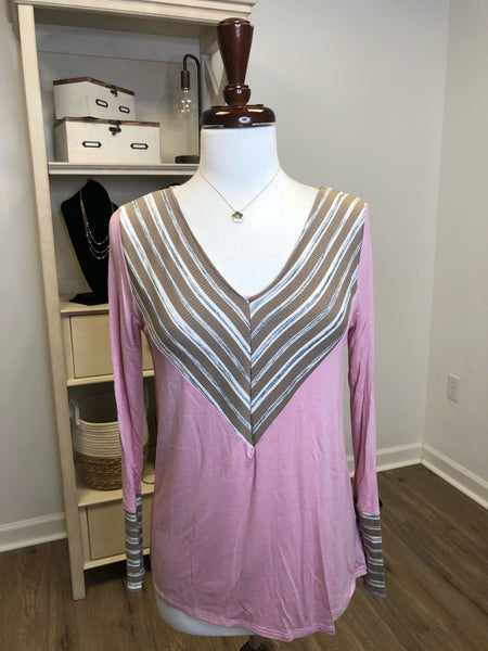 Pink Long Sleeve Top with Brown Striped V-Neck and Cuff