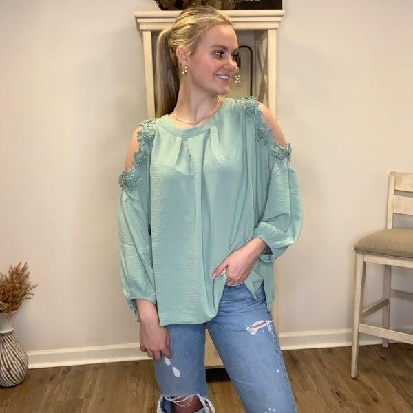 Boutique Item: Sage Green Round Neck Blouse with Cold Shoulder Detailing
