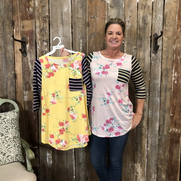 Floral Print Raglan Top with Contrasting Striped Sleeves and Front Pocket (GA2)