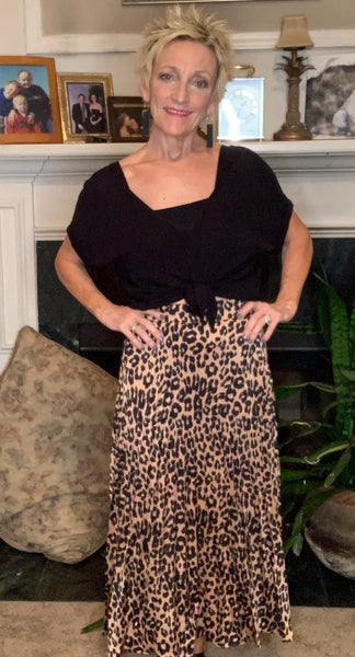 Boutique Item: Pleated Leopard Print Satin Midi Skirt MJB (L)