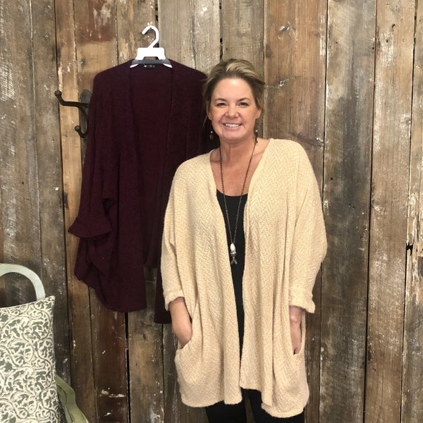 Solid Knitted 3/4 Sleeve Cardigan with Pockets(GA2)