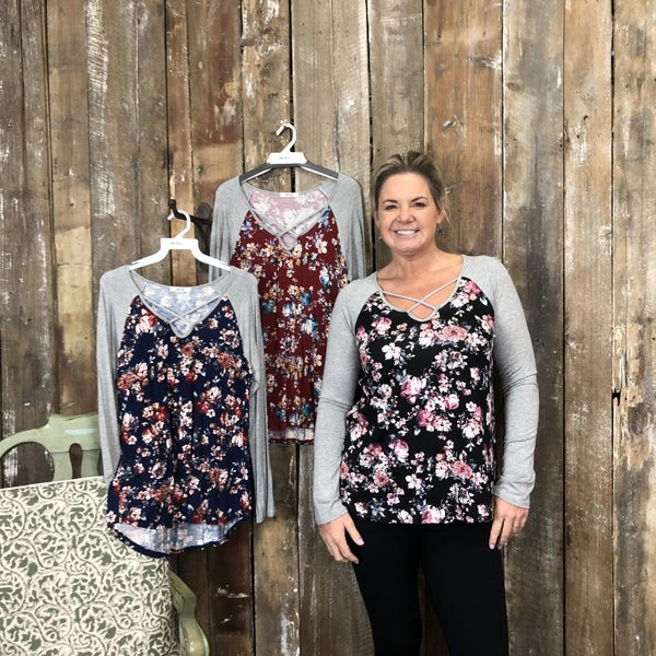 Floral Print Top with Contrasting Grey Sleeves with Criss Cross Neckline (GA2)