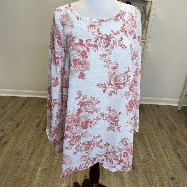Ivory Tunic with Red Floral Print and Long Bell Sleeve