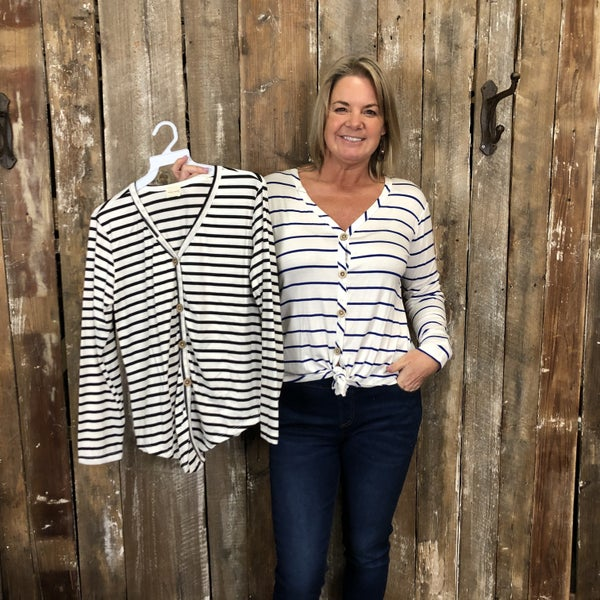 Striped Button Front Top with Tie Hem (GA2)