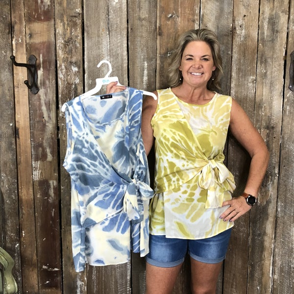 Tie Dye Sleeveless Top with Bow Side Detail (GA2)