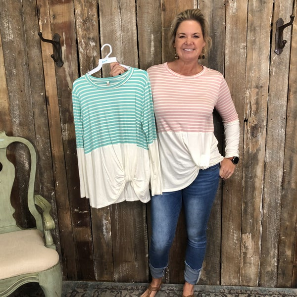 Contrasting Striped/Ivory Top with Knotted Hem (GA2)