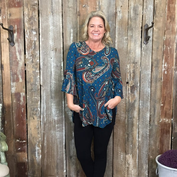 Teal Paisley Print V-Neck Top with Bell Sleeves (GA2)
